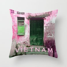 ANTIQUE CHINESE WALL of HOI AN in VIETNAM Throw Pillow