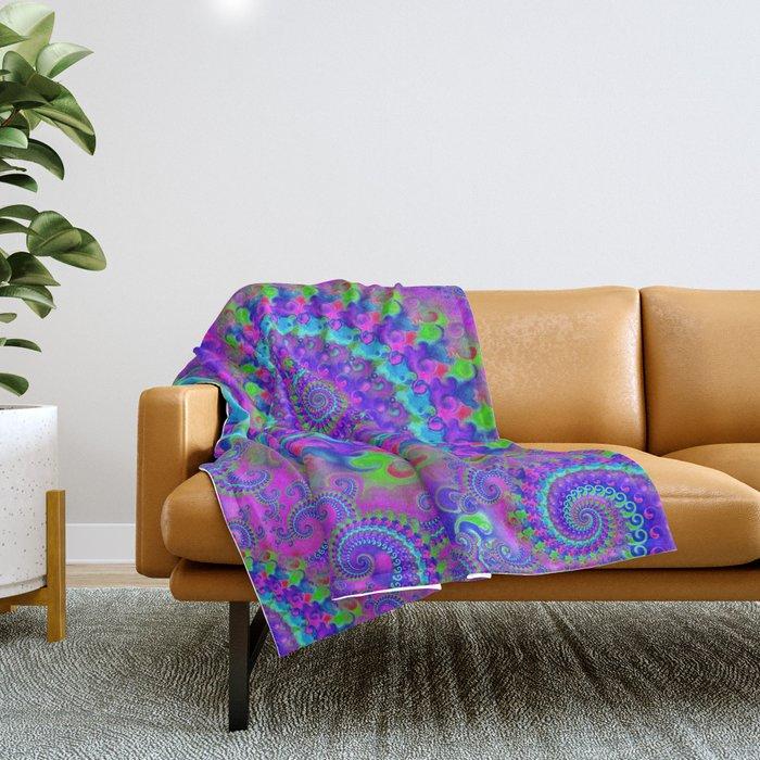 Funky Blue Fractal Pattern Throw Blanket