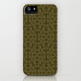 Floral leaf motif running stitch style. iPhone Case