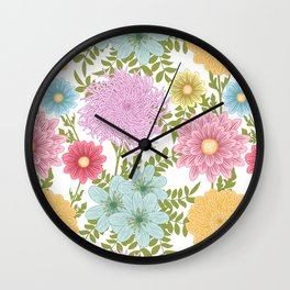 Painted Floral Pattern With Dahlias And Chrysanthemums Wall Clock