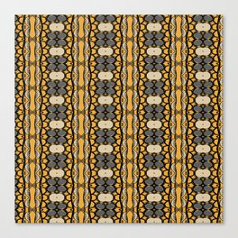 Yellow and Gray Leaf Stripe African Inspired Print Canvas Print