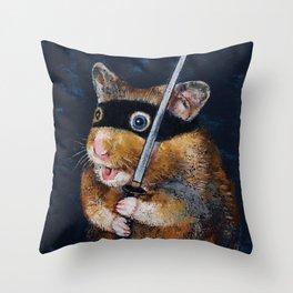 Ninja Hamster Throw Pillow