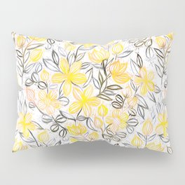 Sunny Yellow Crayon Striped Summer Floral Pillow Sham