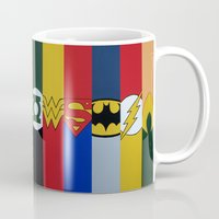 justice league Mugs featuring Justice Logo's by iankingart