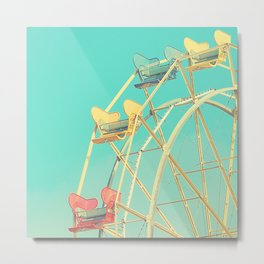 Vintage fairground photograph, teal, red, yellow, Ferris Wheel Metal Print