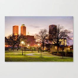 Lighted Walkway to the Tulsa Oklahoma Skyline Canvas Print