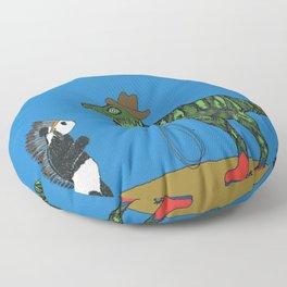 Dinosaur and panda play cowboys and Indians Floor Pillow