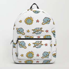 Cosmic Solar System Fantasy Space Background Seamless Vector Pattern Backpack
