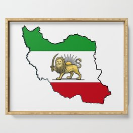Iran Map with Iranian Flag Serving Tray