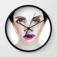 glitch Wall Clocks featuring Glitch by Hiba Khan Art