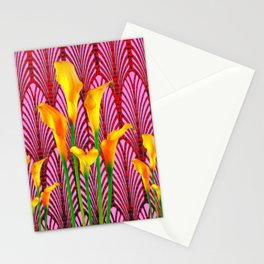 GOLDEN CALLA LILIES & RED ART DECO ART Stationery Cards