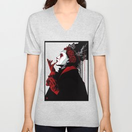 Dark Girl Victorian Goth Illustration  Unisex V-Neck