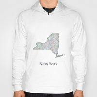 new york map Hoodies featuring New York map by David Zydd