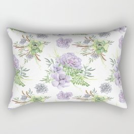 Desert Succulents Purple and Green Rectangular Pillow