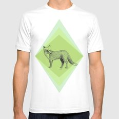 fox in forest White MEDIUM Mens Fitted Tee