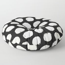 Trendy Cream Polka Dots on Black Floor Pillow