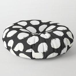 Trendy Cream Polka Dots on Black Floor Pillow