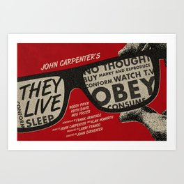They Live movie poster Art Print