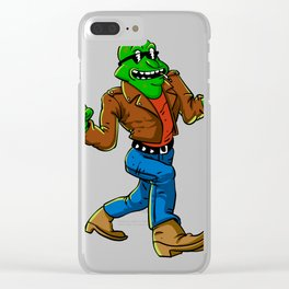 Cool frog  cartoon illustration Clear iPhone Case