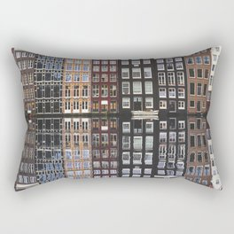 Typical Dutch houses built by the canal, Amsterdam, Netherlands photography Rectangular Pillow