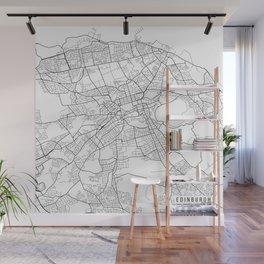 Edinburgh Map, Scotland - Black and White Wall Mural