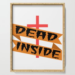 """A Nice Inside Theme Tee For You Who Loves Being Inside Saying """"Dead Inside"""" T-shirt Design Coffin Serving Tray"""