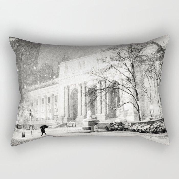 New York City Snow - 5th Avenue Rectangular Pillow