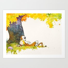 Calvin And Hobbes Cartoon Art Print