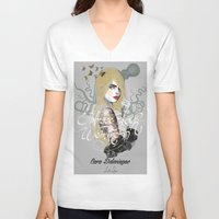 cara V-neck T-shirts featuring Cara by lalinsan