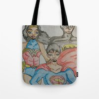 dc comics Tote Bags featuring DC: Trinity by aka-noodle