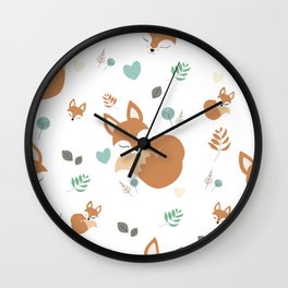 Cute Cartoon Sleepy Fox Pattern Wall Clock