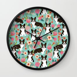 Brindle Cardigan Corgi Florals - cute corgi design, corgi owners will love this mint florals corgi Wall Clock