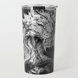 Dark Side Japanese Dragon portrait on black background | Graphit Travel Mug