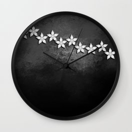Spectacular silver flowers on black grunge texture Wall Clock