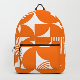 Orange Mid Century Bauhaus Semi Circle Pattern Backpack