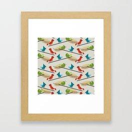 Mid Century Modern Birds Framed Art Print