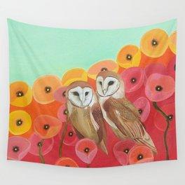 Owls in a Poppy Field Wall Tapestry
