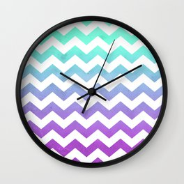 Purple Mint Aqua Ombre Chevron Pattern Wall Clock