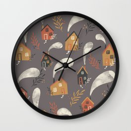 Little houses vintage fall pattern on dark background Wall Clock
