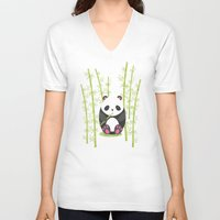 panda V-neck T-shirts featuring Panda  by eDrawings38