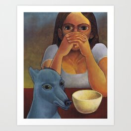 A Girl and Her Dog Art Print