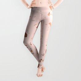 Rose Gold Pink Terrazzo Leggings