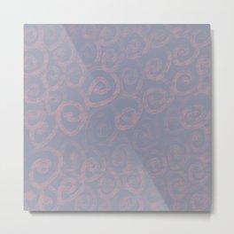 Pattern of pink swirls on blue Metal Print