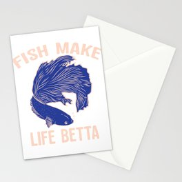Fish  Make Life Betta Siamese Fighting Fish Stationery Cards