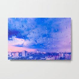 Storm in city Metal Print