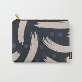 Paint Strokes Pattern - Navy, Blueberry, and Light Sand Colours Carry-All Pouch