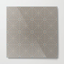 Beige and Blue Mosaic Pattern Metal Print