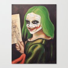 Young Joker Holding a Drawing Canvas Print