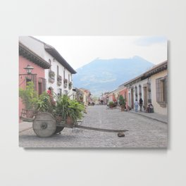 Cart & Mountain Metal Print