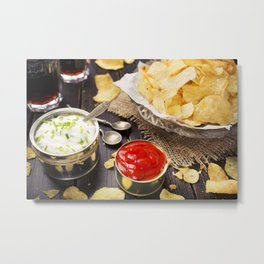 Potato chips with dipping sauces on a rustic table Metal Print